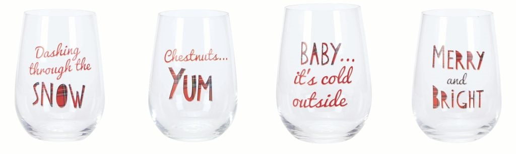 Rustic Holiday Stemless Wine Glasses (Set of Four)