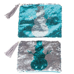 Sequin Snowman Clutch with Tassel