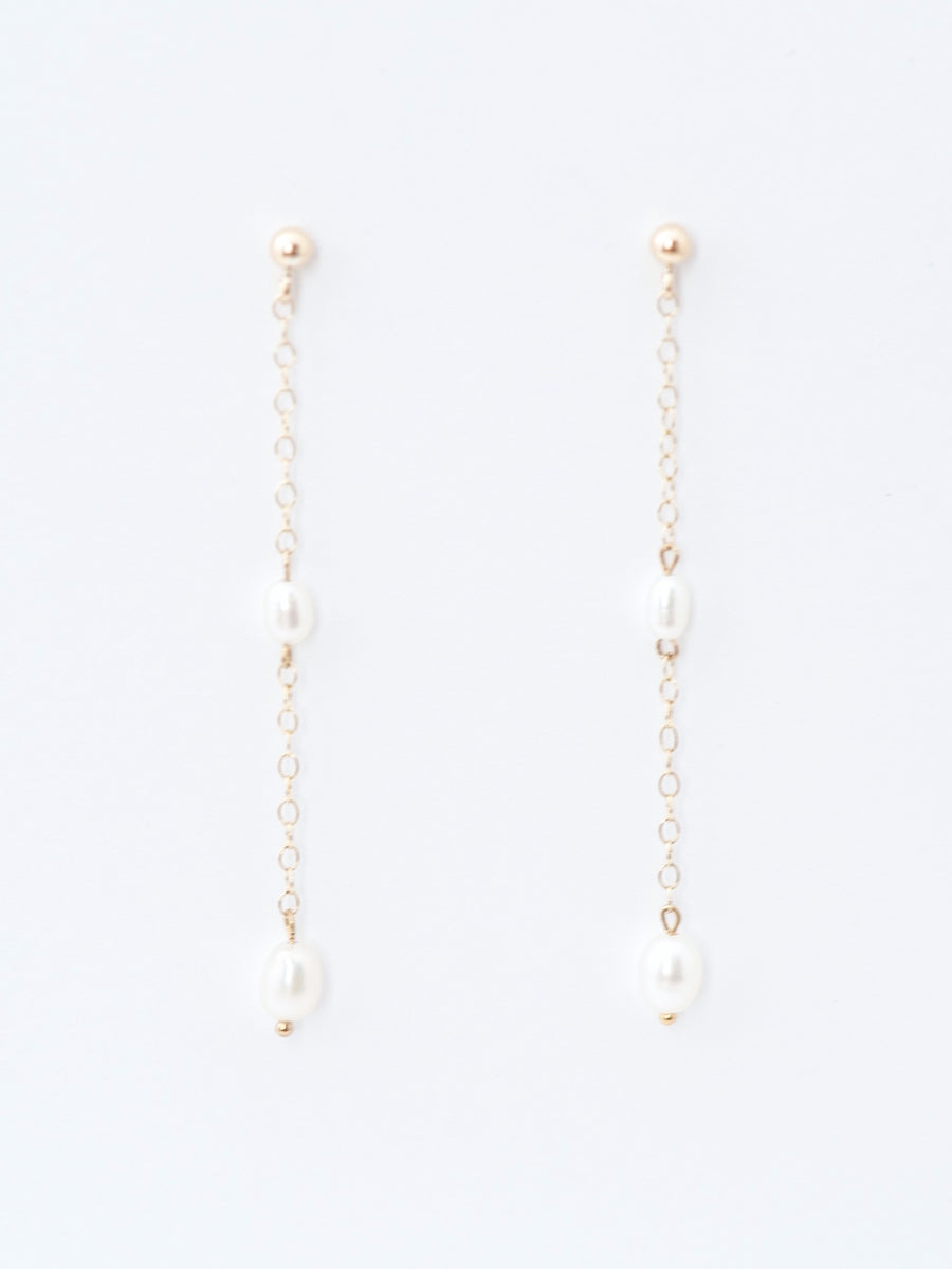 Gold chain drop earrings with freshwater pearls