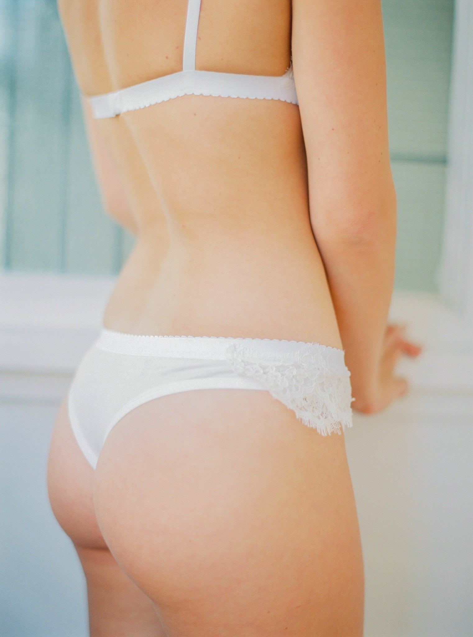 A luxe cream-coloured thong