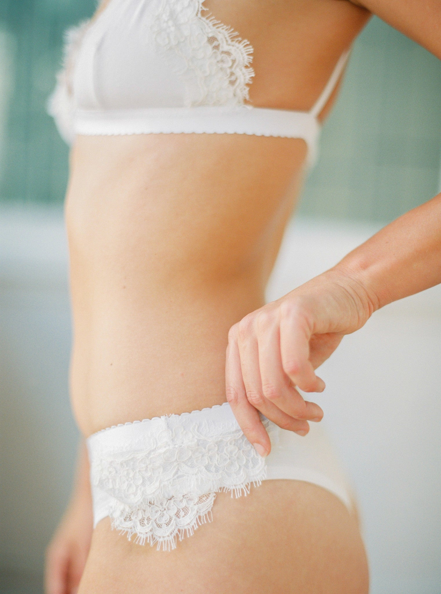 A luxe cream-coloured thong with lace
