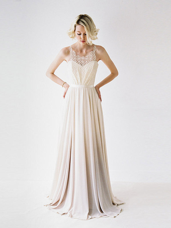 Chiffon wedding gown with medallion lace.