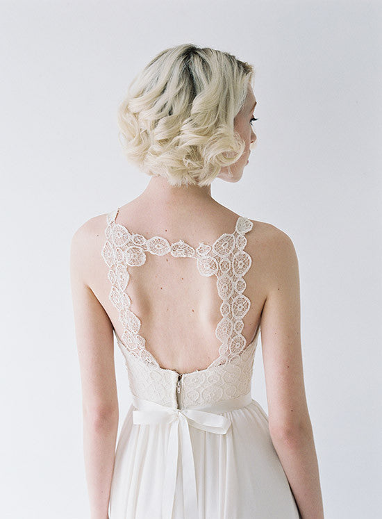 Lace, open back wedding gown