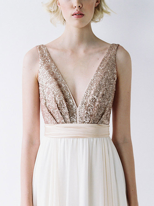 Rose gold sequinned and blush wedding dress.