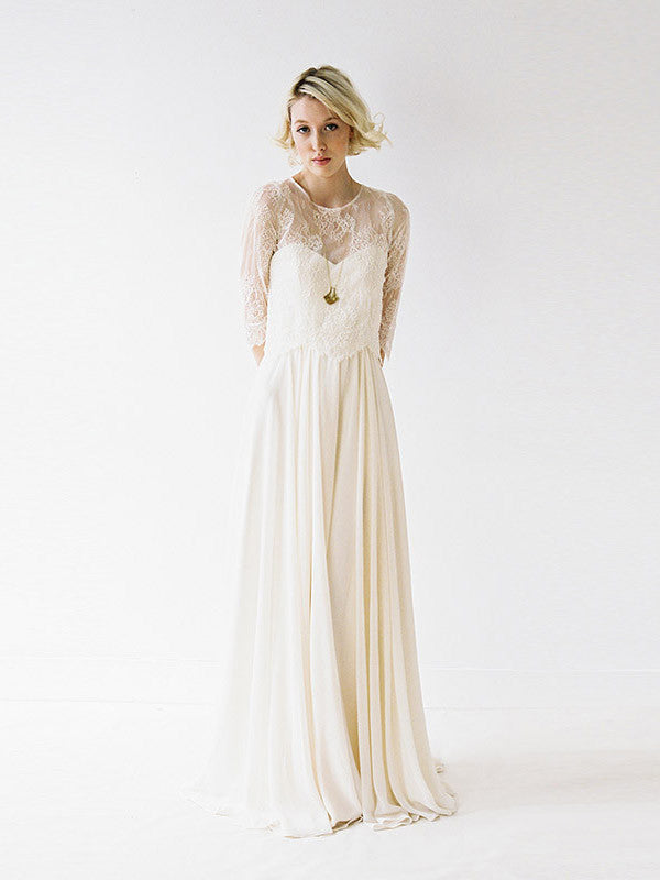 An almond chiffon wedding gown with a removable lace shirt