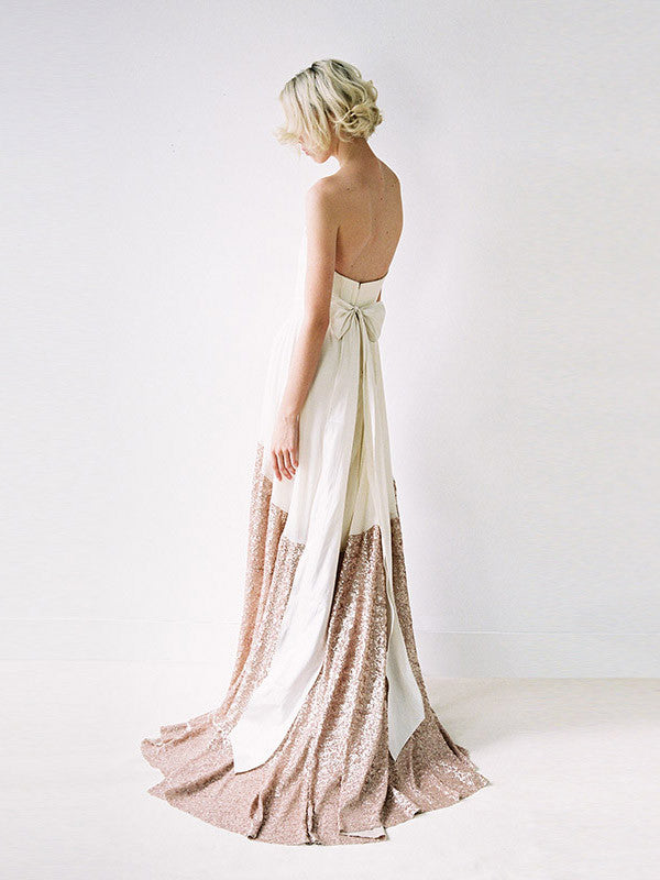 A modern chiffon and rose gold sequinned wedding gown