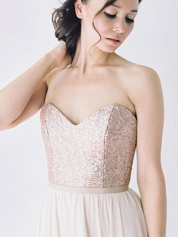 Rose gold sequinned bodice