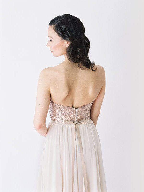 Rose gold sequinned bodice and blush chiffon skirt