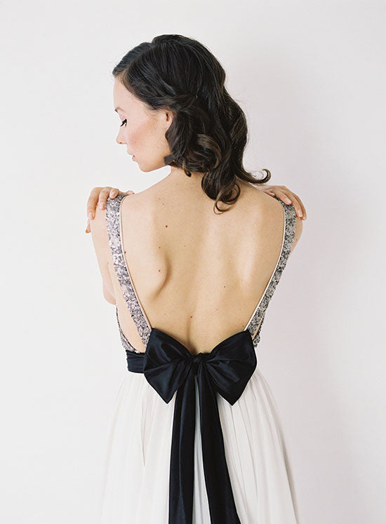 Silver Sequinned, Backless Wedding Gown