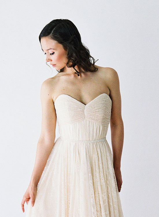 Ruched Lace and Chiffon Wedding Dress