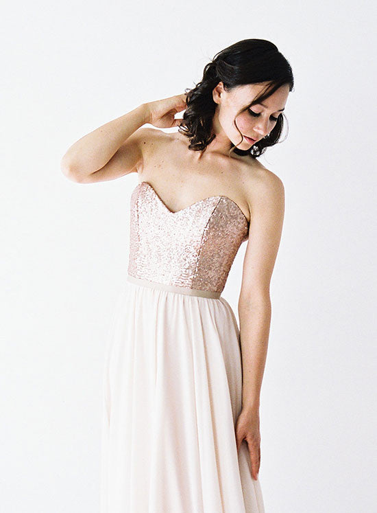 Rose Gold Sequinned Wedding Dress