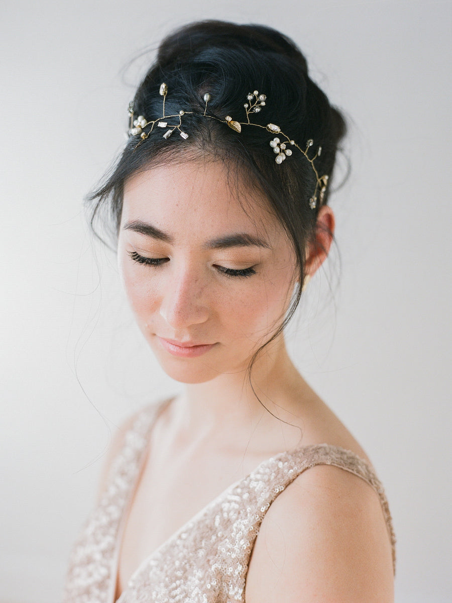 Delicate bridal headpiece with freshwater pearls, Swarovski crystals, gold leaves, and glass beads