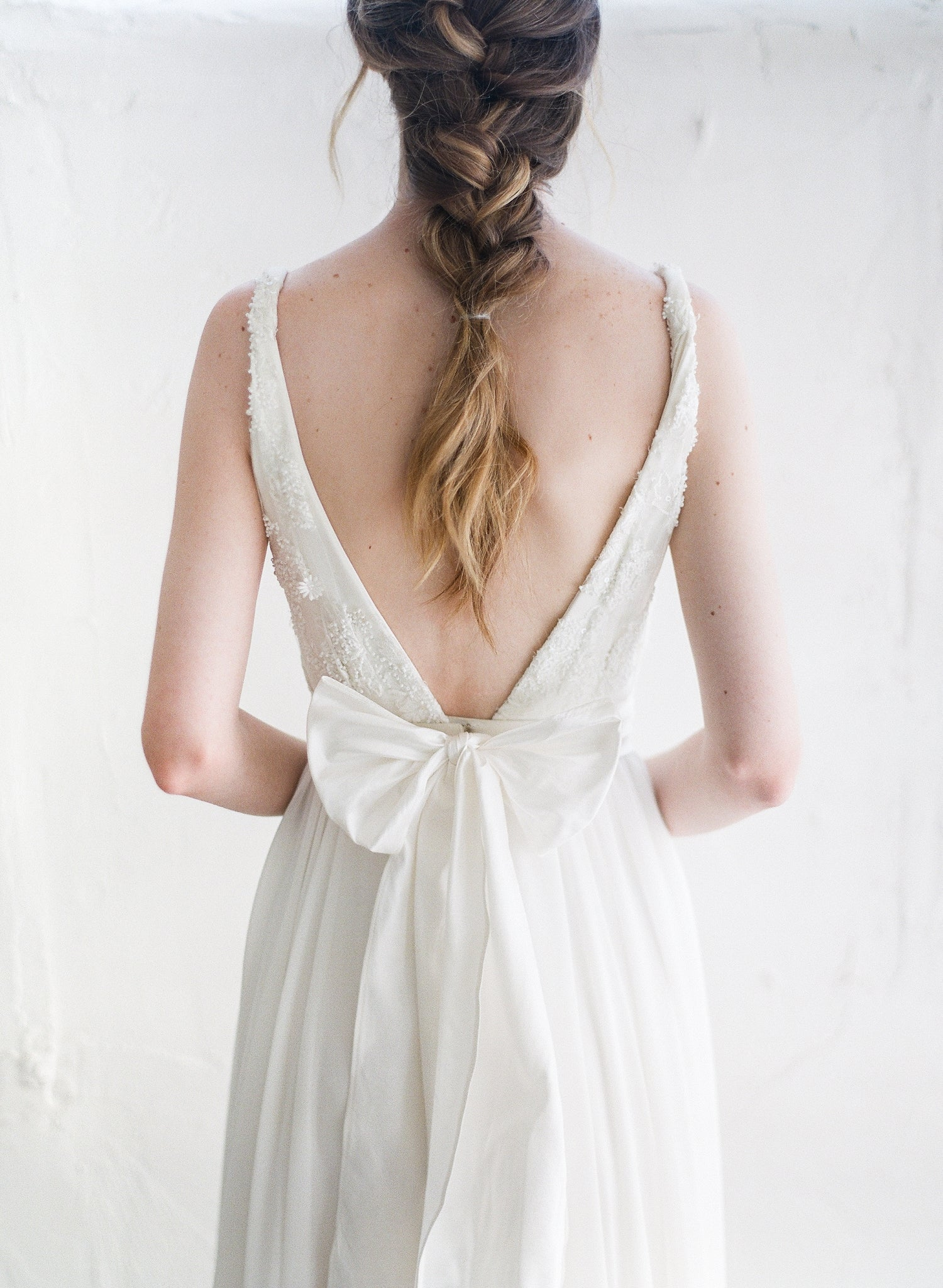 off-white silk sash for wedding dress