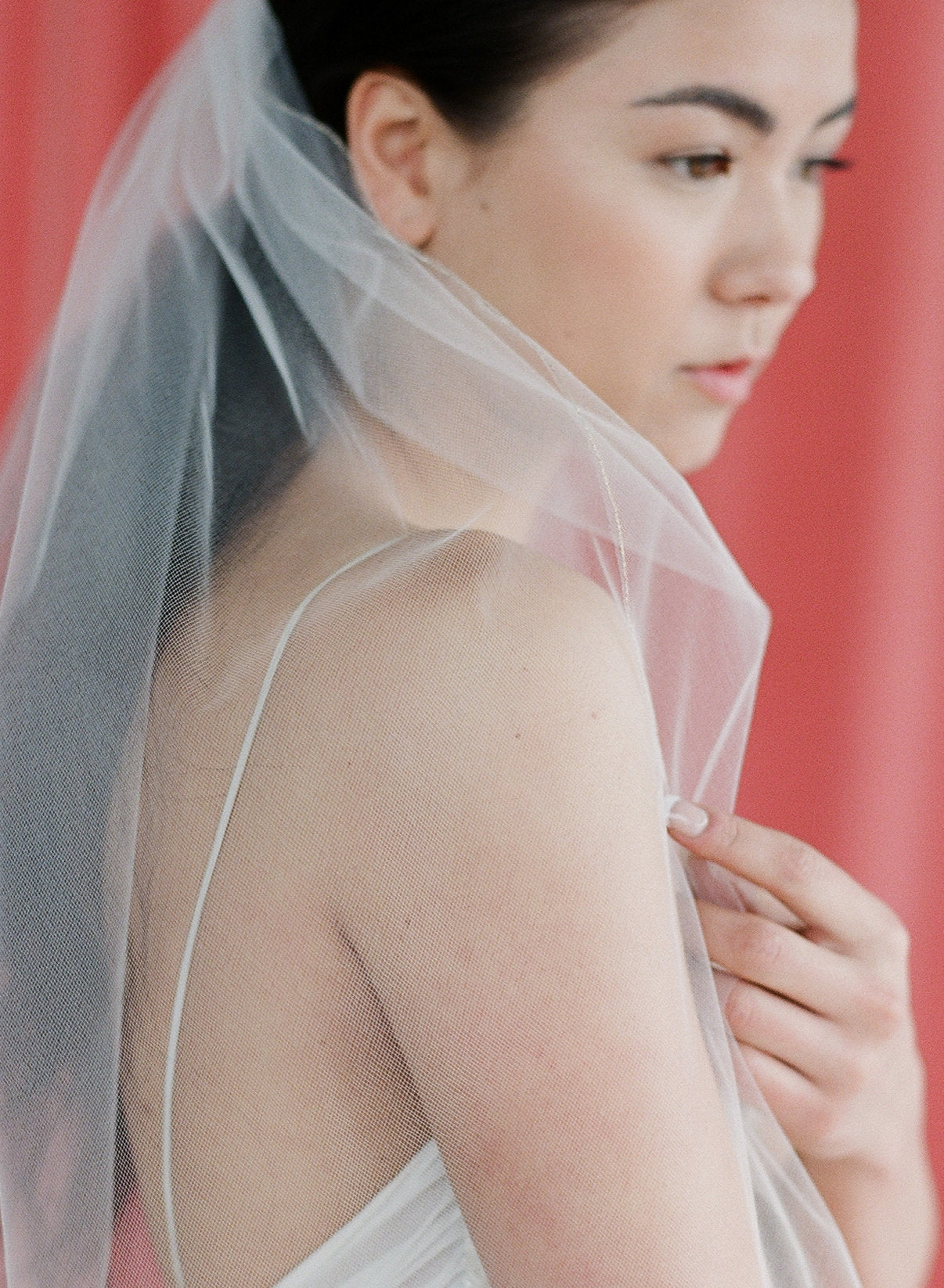 gold or silver thread trim tulle veil