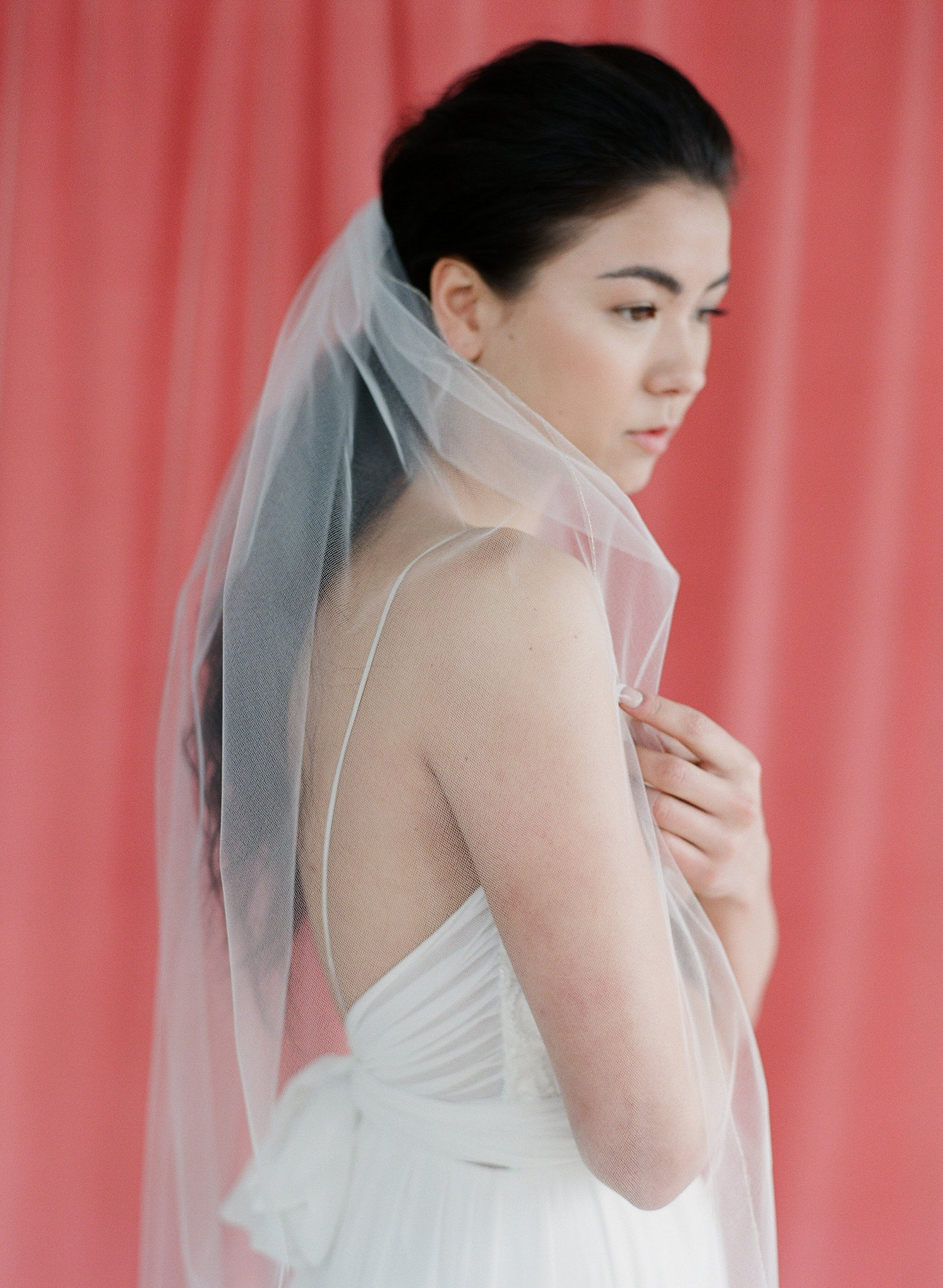 simple classic tulle veil with a subtle gold or silver metallic trim
