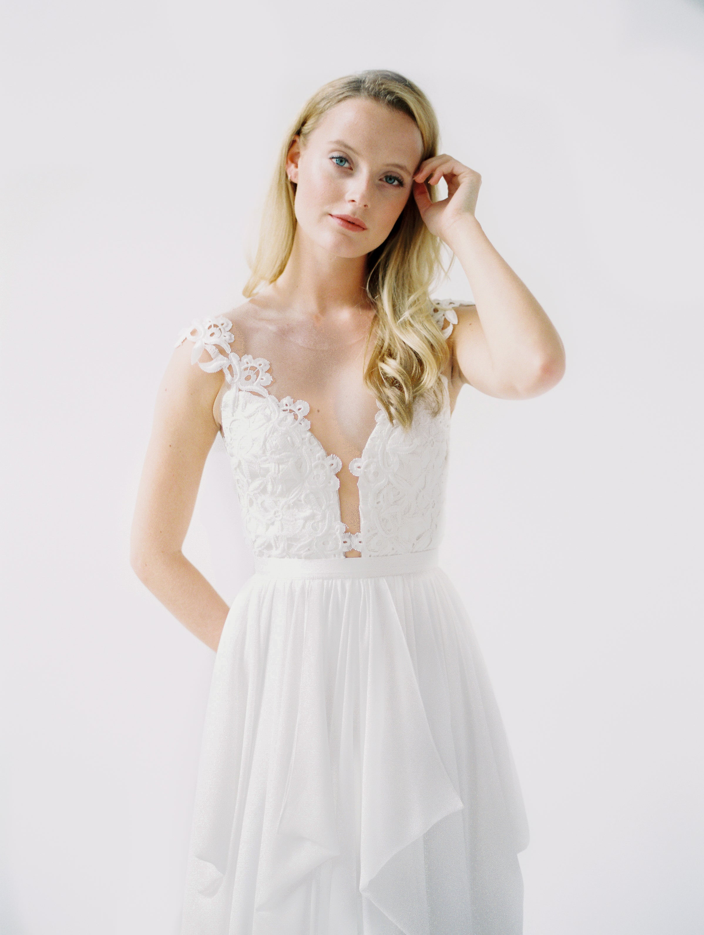 Illusion backless lace dress with a flowy chiffon pickup skirt