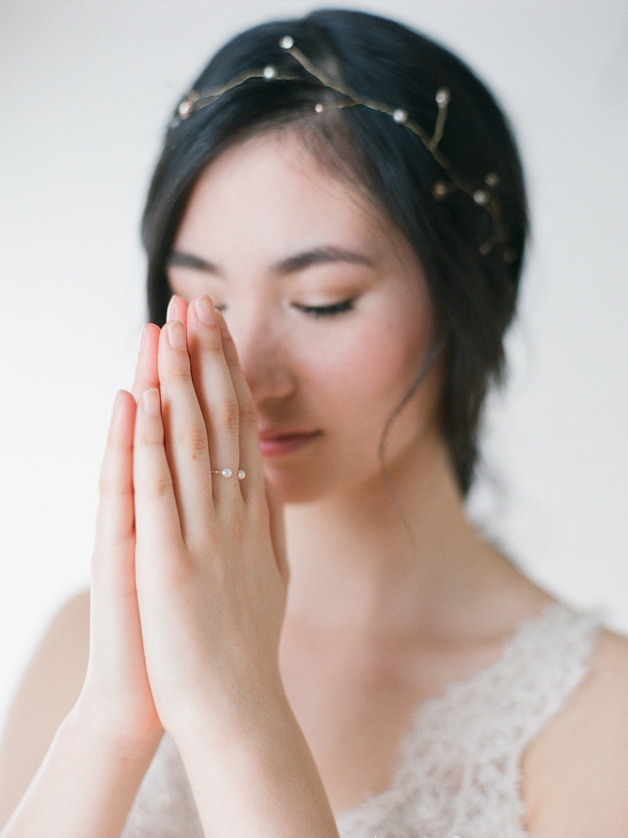 Gold fill open-ended ring with pearls
