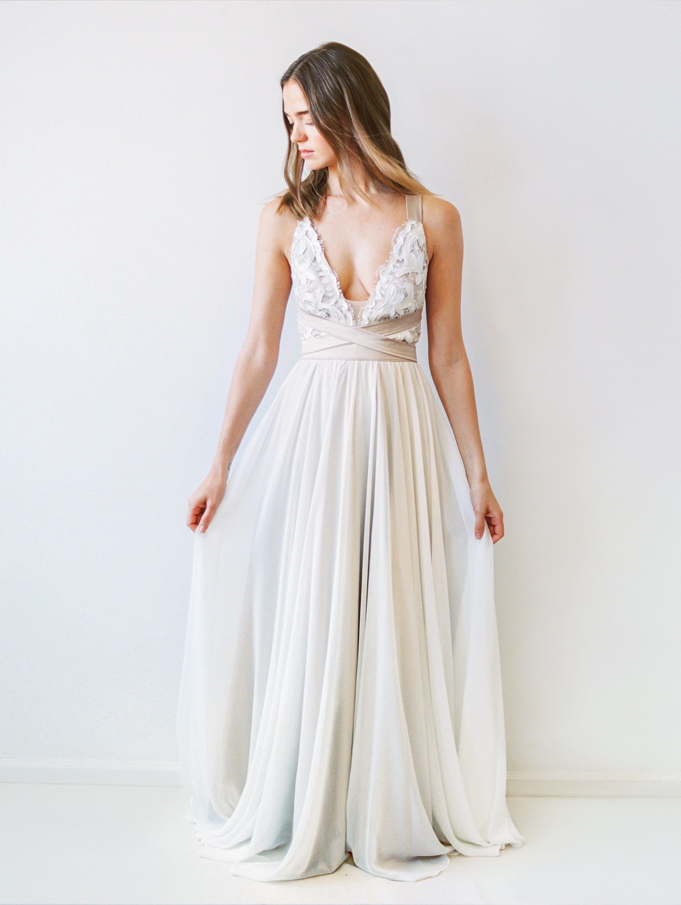 Beach wedding dress with multiway cross-back tie in champagne colour