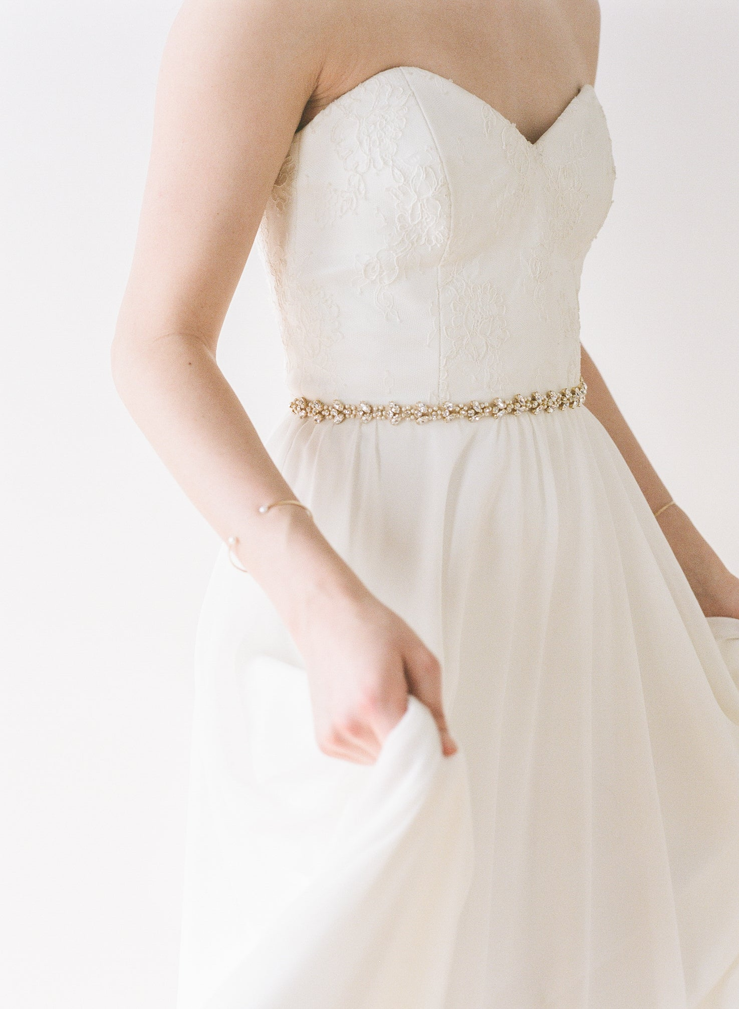 Wedding dress sash with crystals and pearls