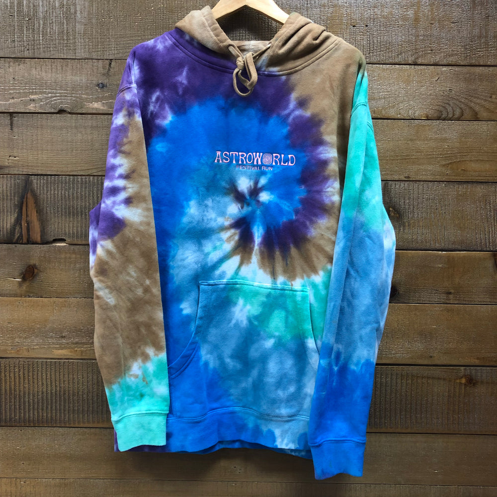 "Astroworld Tour Tie Dye Hoodie ""Sights Are Vivid"" Festival Run"
