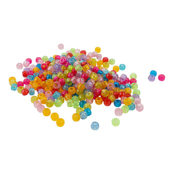 Multicolor Glitter Barrel Pony Beads (300/Pack) - Kandies World