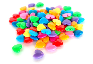 Multicolored Love Heart Beads (50/Pack) - Kandies World