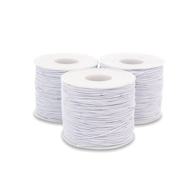 Elastic String & Cord For Face Mask, Crafts, Beading, Bracelets, 3 Rolls, 1mm white, 100 or 200 Yards per Roll - Kandies World