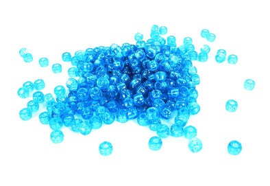 Blue Glitter Barrel Pony Beads (300/Pack) - Kandies World