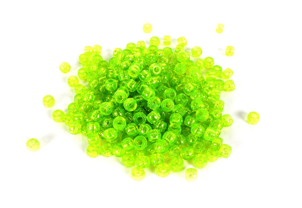 Green Glitter Barrel Pony Beads (300/Pack) - Kandies World