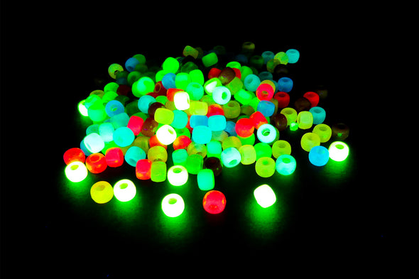 Neon Glow In the Dark UV Barrel Pony Beads (300/Pack) - Kandies World