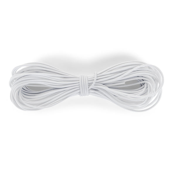 1/8 Inch (3mm) Elastic Cord & String For DIY Projects, Stretchy, Round Elasticity Rope, Good for Crafts, Beading, 20 to 200 Yards, White Elastic Band
