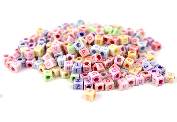 Pastel Collection | Cube Alphabet Beads (300/Pack) - Kandies World