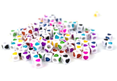 Cube Heart Beads (150/Pack) - Kandies World