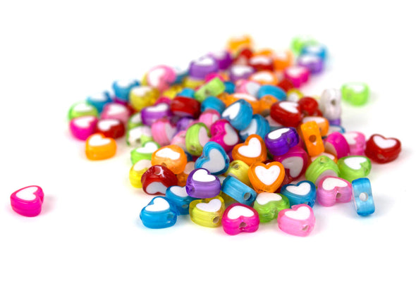 Electric Love Heart Beads (125/Pack) - Kandies World