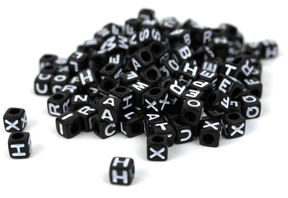Black Opaque Cube Alphabet Beads (300/Pack) - Kandies World