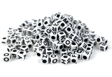 White Opaque Cube Alphabet Beads (300/Pack) - Kandies World