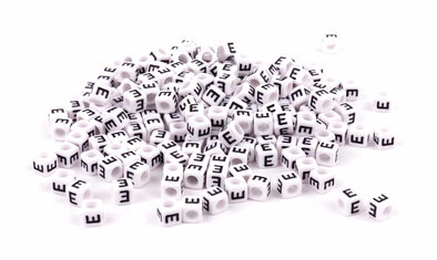 Single E Alphabet Beads - White - Kandies World