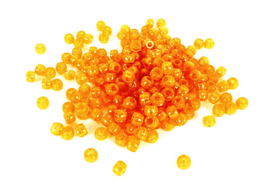 Orange Glitter Barrel Pony Beads (300/Pack) - Kandies World