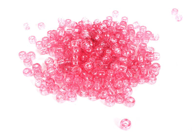 Pink Glitter Barrel Pony Beads (300/Pack) - Kandies World