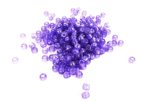 Purple Glitter Pony Beads (300/Pack) - Kandies World
