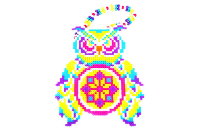 Mystical Night Owl Perler Necklace - Blue/Red - Kandies World