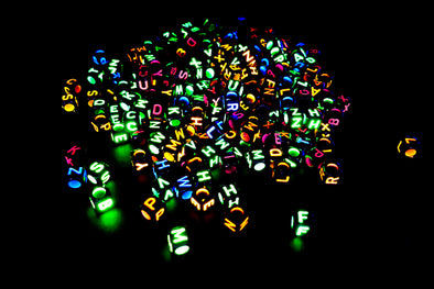 Black Neon Alphabet Beads (300/Pack) - Kandies World