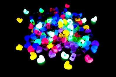 Neon UV Heart Beads - Kandies World