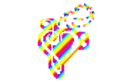 Rainbow Love Music Note Perler Necklace - Kandies World