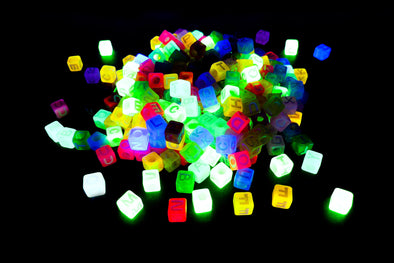Multicolor Neon UV Cubic Alphabet Beads - Kandies World
