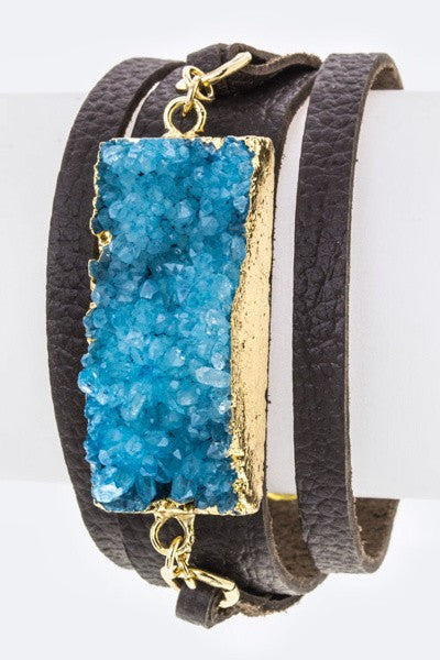 Leather cuff with druzy stone