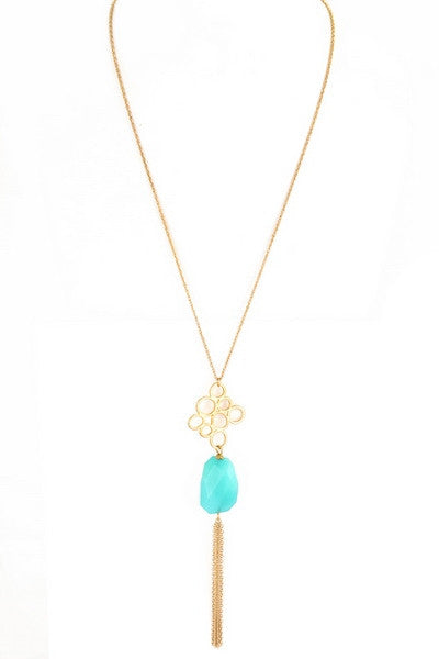Teal Stone Tassel Necklace - Kennadi Lane