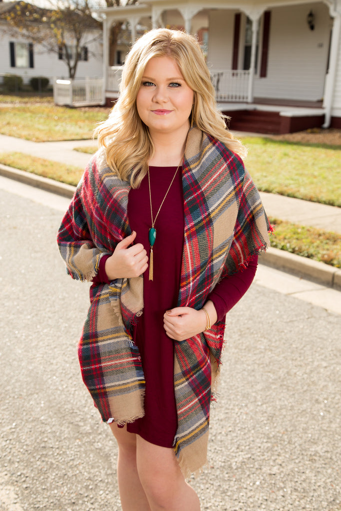 Burgundy Piko Dress - Kennadi Lane