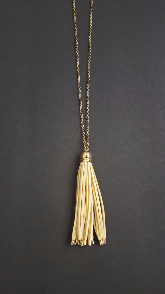 Cream Tassel Necklace - Kennadi Lane