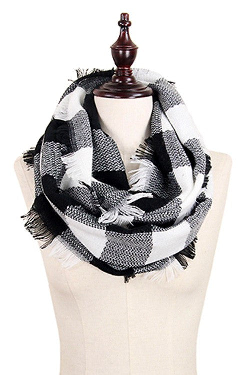 black and white plaid scarf+kennadi lane